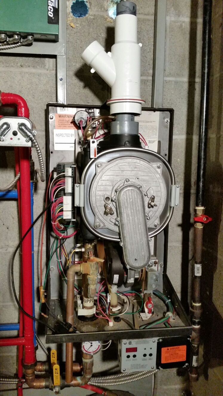 Slaterville Springs, NY - Replace heat exchanger for wall mount high efficiency Munchkin boiler.