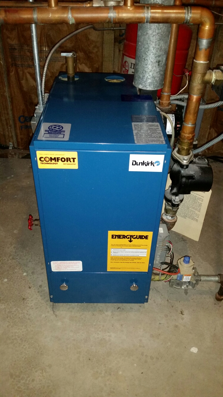 Freeville, NY - Planned maintenance on gas fired Utica boiler. Test safeties and combustion.