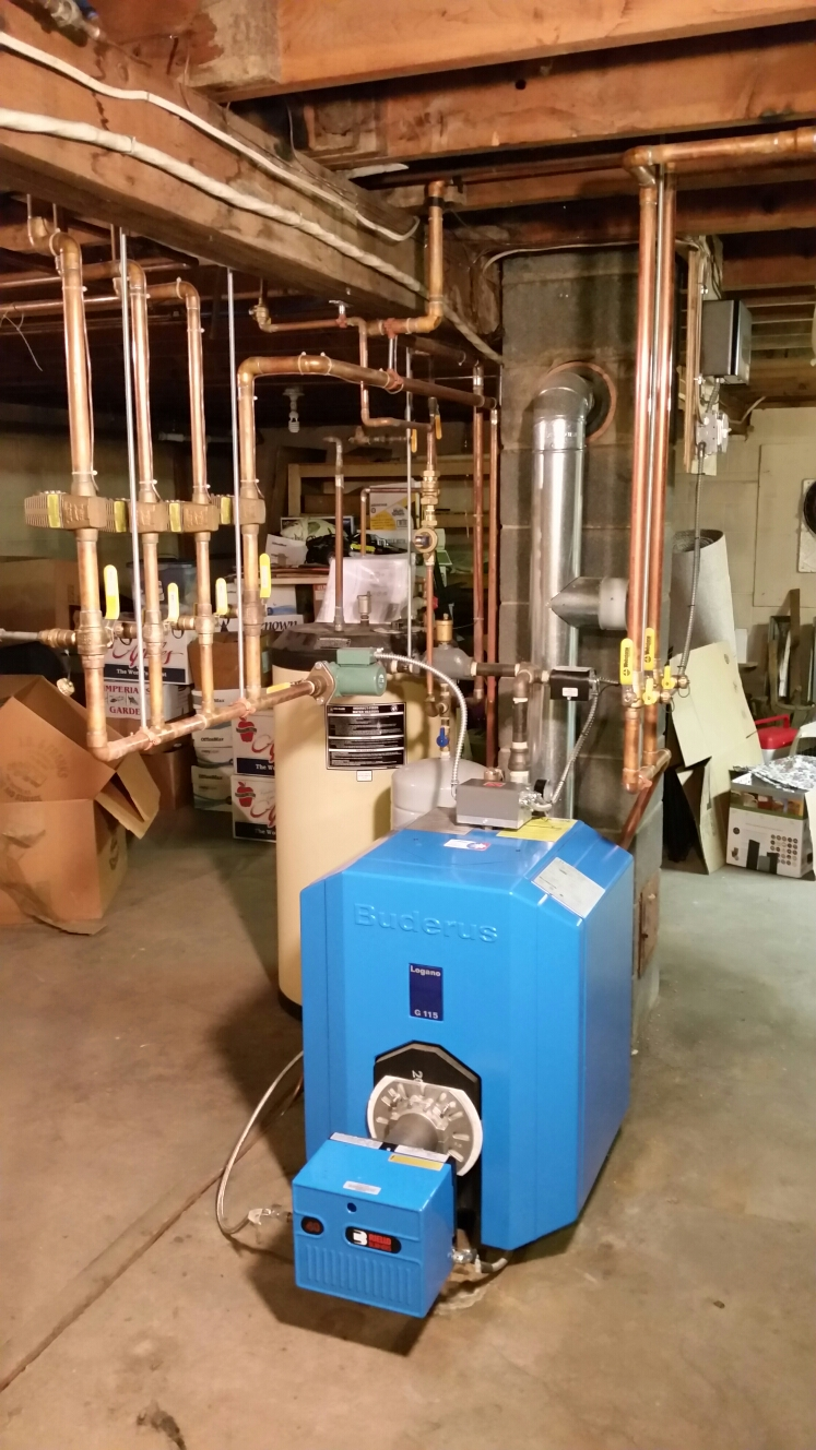 Cortland, NY - Tune Comfort Technology installed oil fired Buderus boiler with Riello burner. Test safeties and combustion.