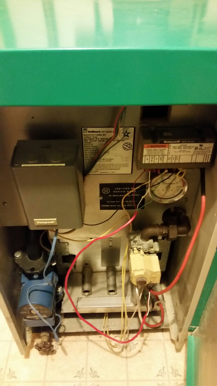 Dryden, NY - Planned maintenance on gas fired Vaillant boiler. Test safeties and combustion.