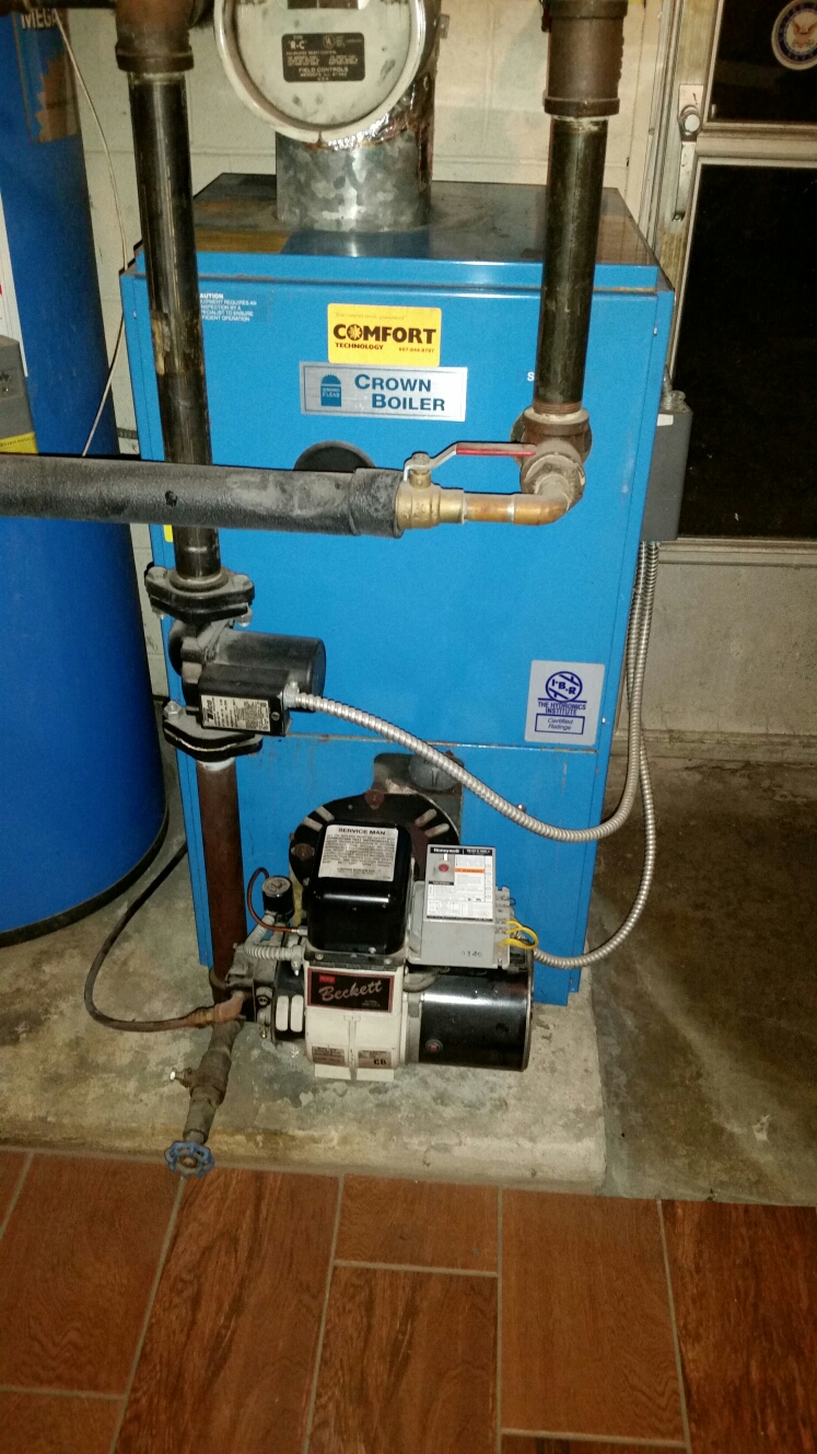 Lansing, NY - Tune oil fired Crown boiler with Beckett burner. Test safeties and combustion.