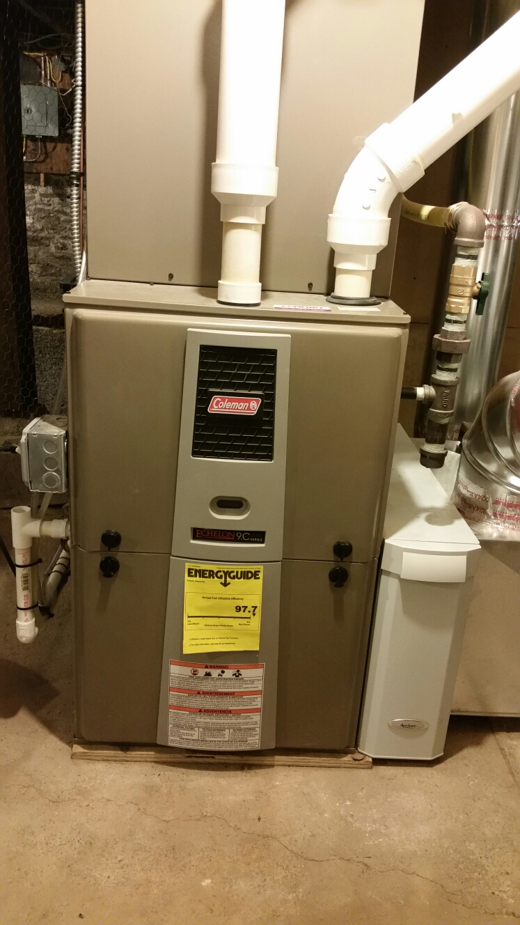 Dryden, NY - Planned maintenance on Comfort Technology installed high efficiency, modulating, gas fired Coleman furnace with Aprilaire high efficiency air cleaner and humidifier. Test safeties and combustion.