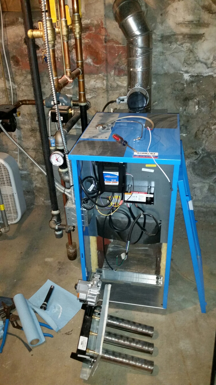 Dryden, NY - Planned maintenance on Comfort Technology installed gas fired Buderus boiler. Test safeties and combustion.