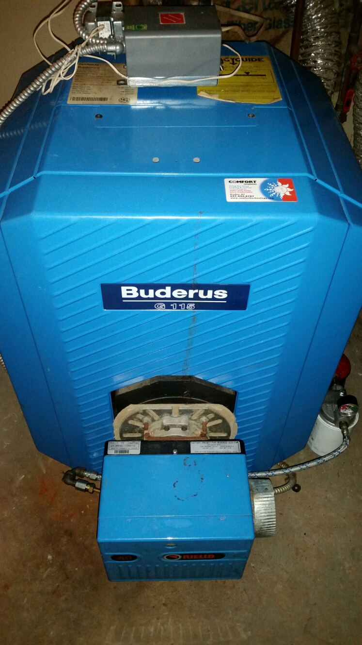Dryden, NY - Planned maintenance on oil fired Buderus boiler with Riello burner. Test safeties and combustion.