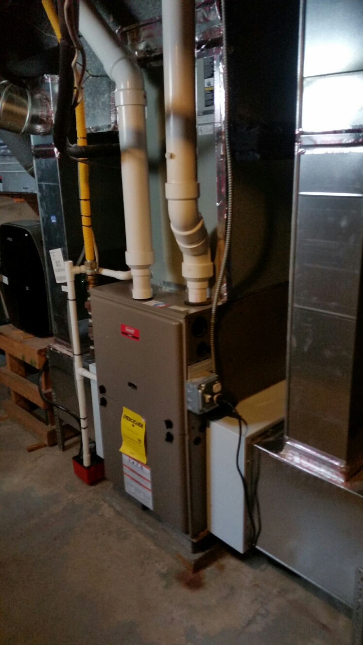 Cortland, NY - Planned maintenance on air conditioning system and Comfort Technology installed, gas fired, modulating, high efficiency Coleman furnace. Test safeties and combustion.