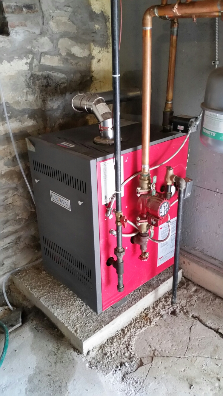 Ithaca, NY - Scheduled maintenance on Crown gas fired boiler. Test safeties and combustion.