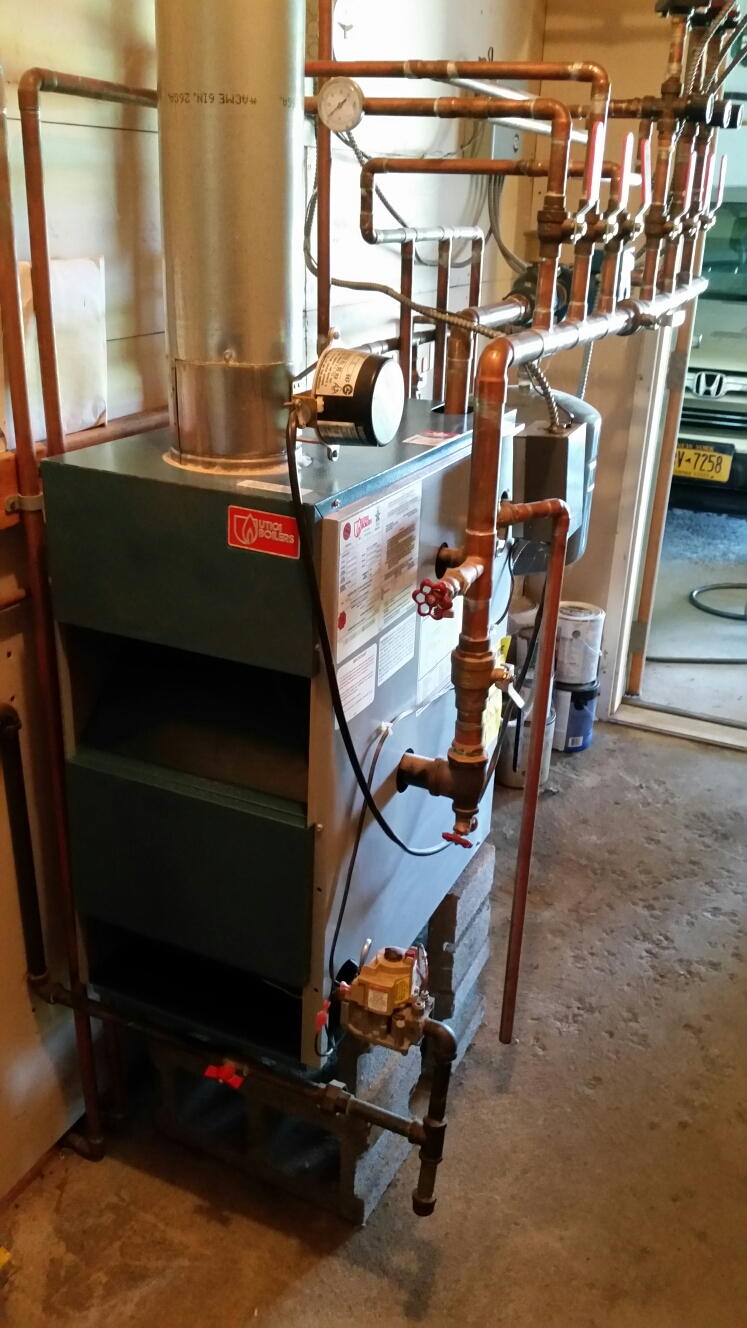 Dryden, NY - Planned maintenance on propane fired Utica boiler with radiant in floor heat. Test safeties and combustion.
