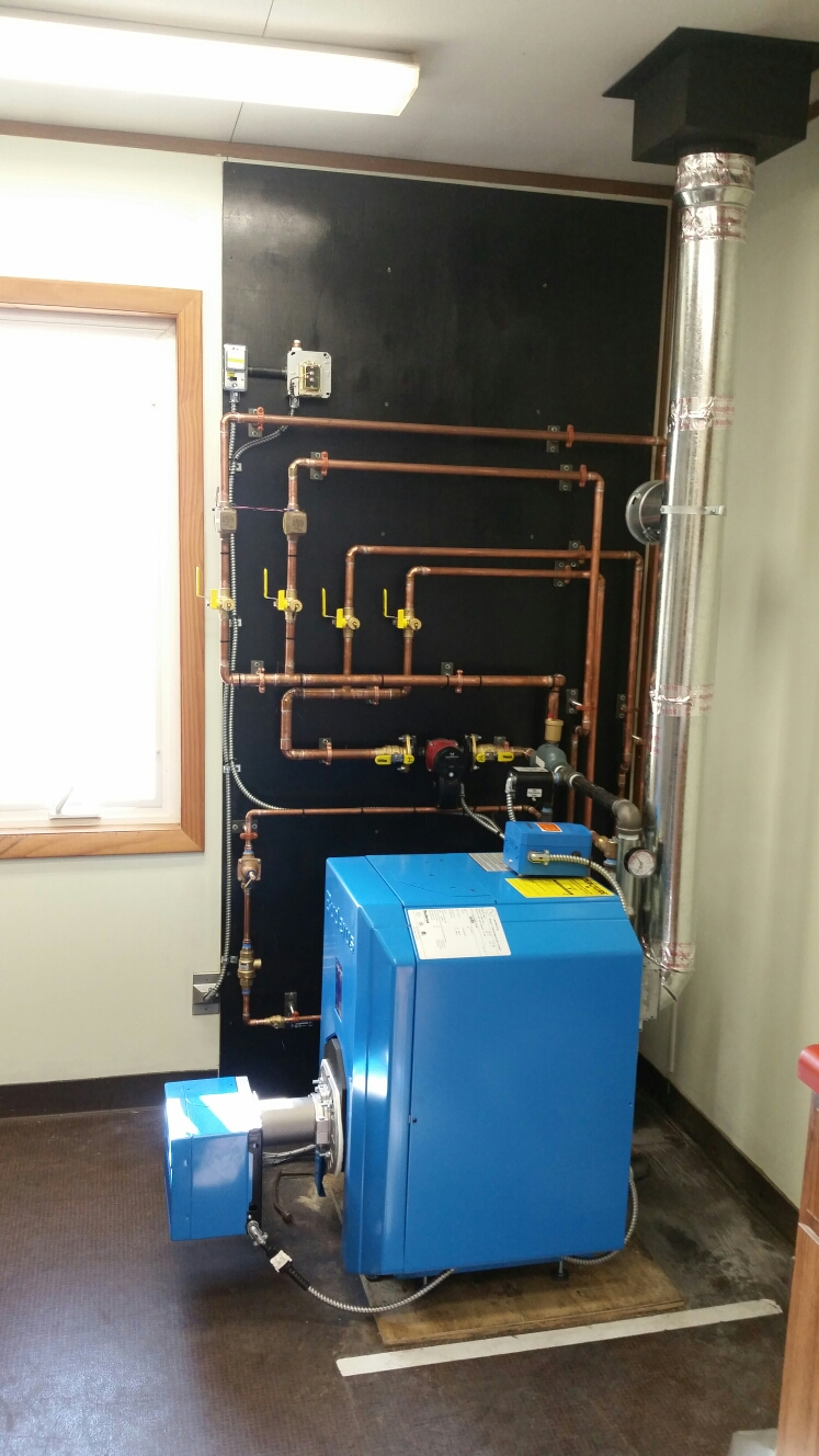 Berkshire, NY - Finish replacement of old Buderus boiler with new Buderus boiler with a Riello burner. Test safeties and combustion.