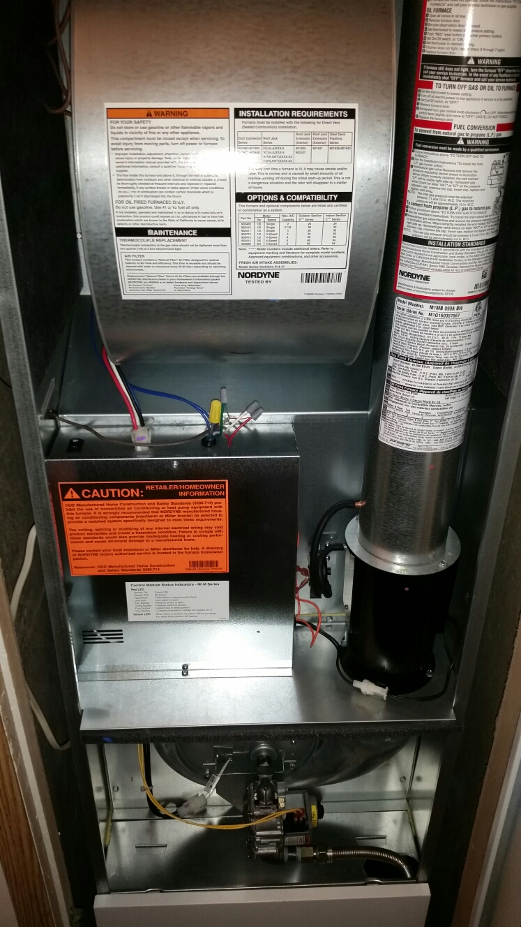 Freeville, NY - Scheduled maintenance on Comfort Technology installed gas fired Broan furnace.