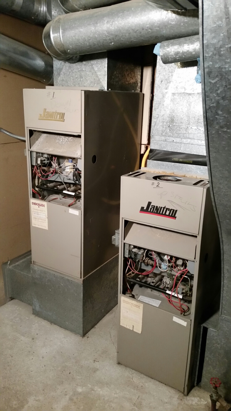 Ithaca, NY - Start replacement of 2 Janitrol standard efficiency furnaces.