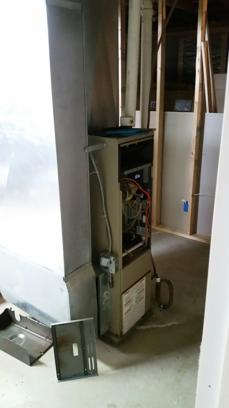 Groton, NY - Start replacing Ducane furnace with failed heat exchanger.