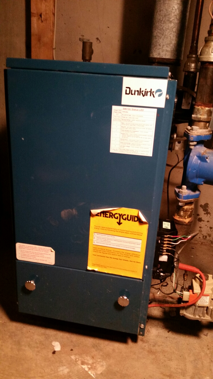 Freeville, NY - Planned maintenance on gas fired Dunkirk boiler. Test safeties and combustion.