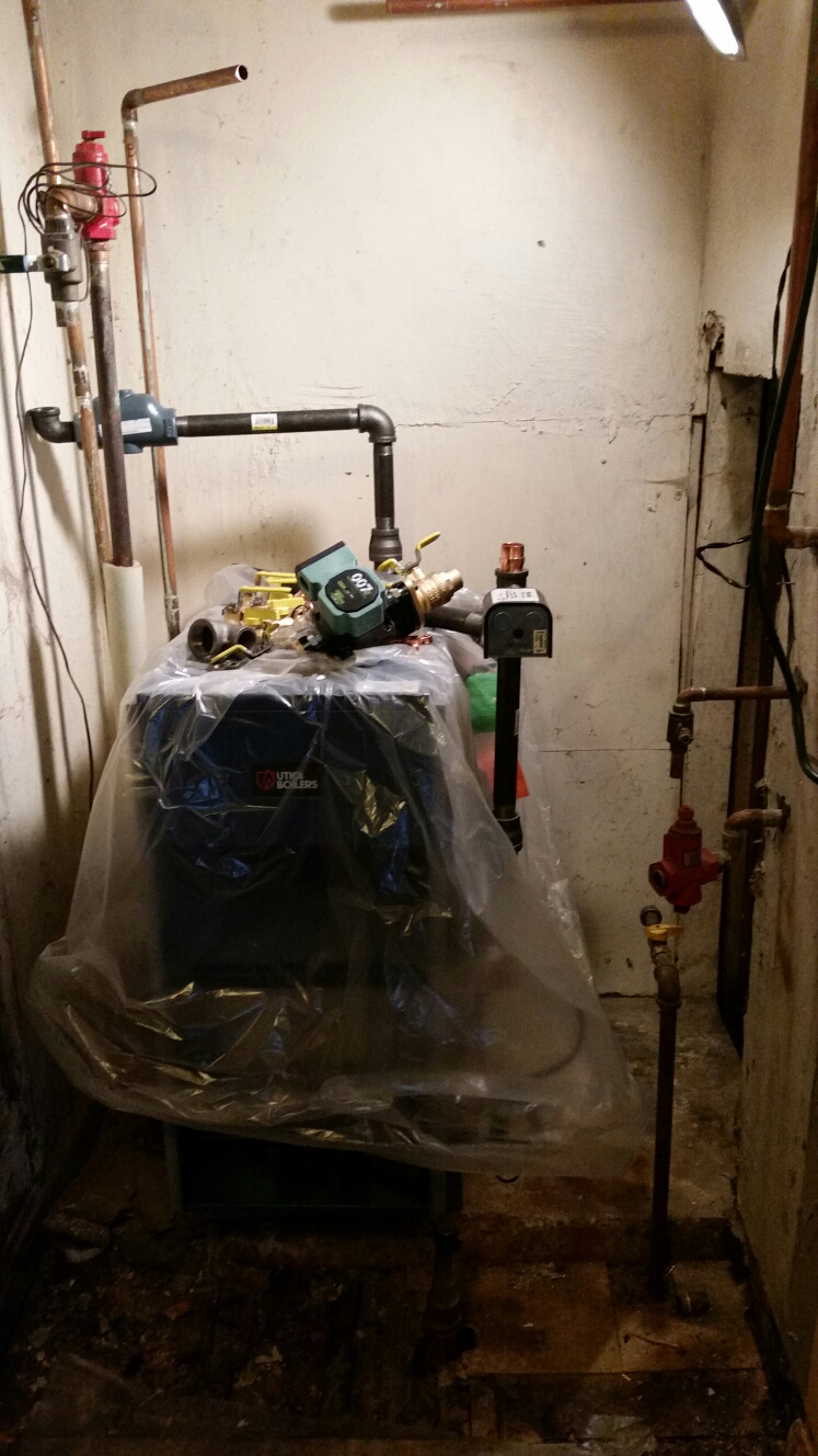 Ithaca, NY - Replacing old/failed Weil McLain gas fired boiler with a new Utica boiler.