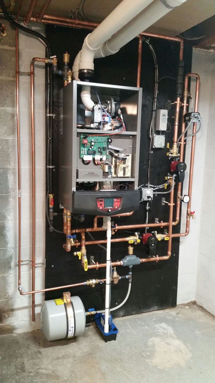 Ithaca, NY - Finish installation of high efficiency, modulating, condensing, gas fired Lochinvar Knight boiler. Test safeties and combustion.