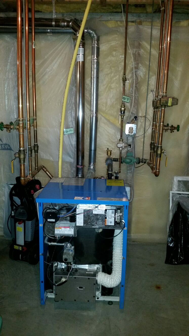 Ithaca, NY - Planned maintenance on Comfort Technology installed, gas fired, Buderus boiler. Test safeties and combustion.