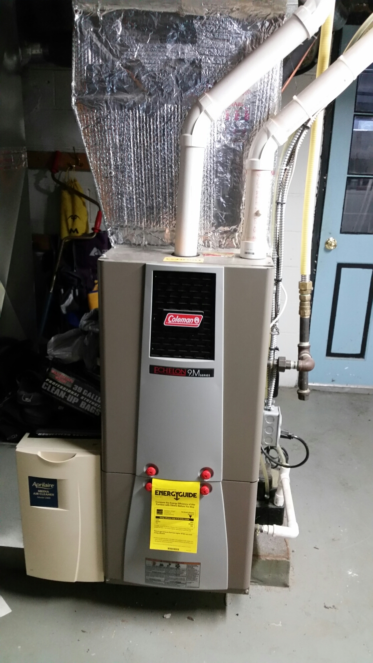 Cortland, NY - Planned maintenance on Comfort Technology installed, gas fired, modulating, high efficiency, Coleman furnace. Test safeties and combustion
