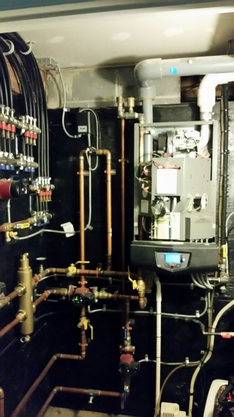 Ithaca, NY - Scheduled maintenance on Comfort Technology installed, gas fired, modulating, high efficiency, Lochinvar Knight boiler. Test safeties and combustion.