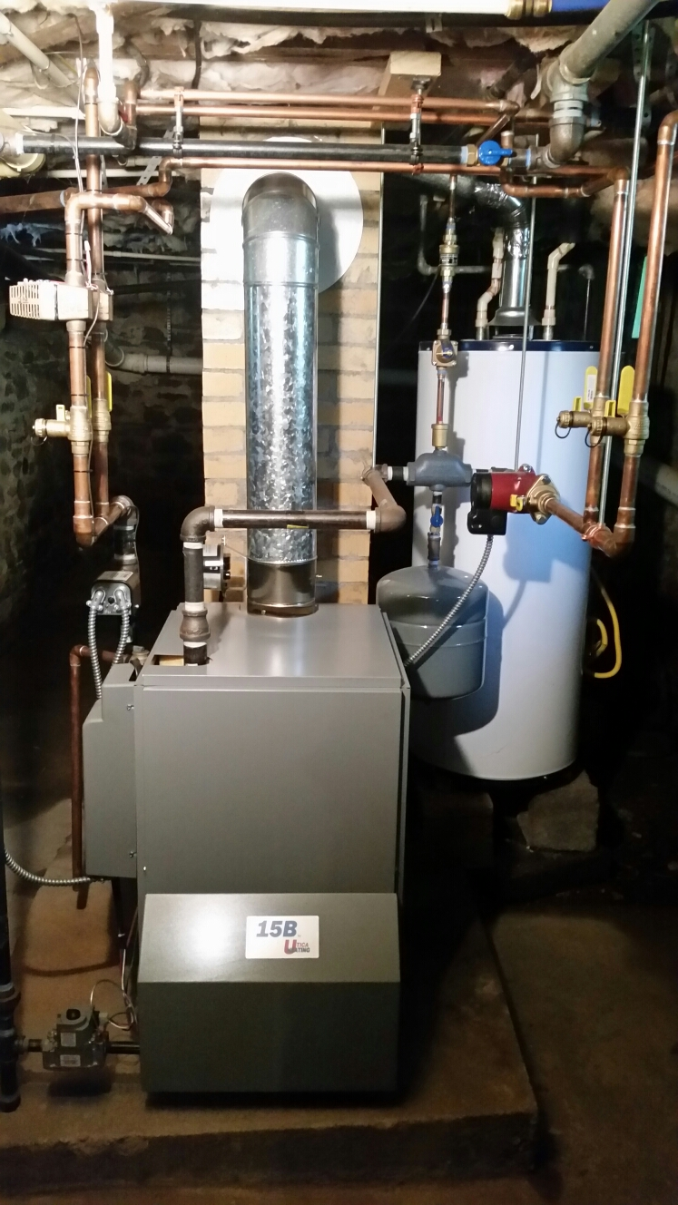 Freeville, NY - 1st service on Comfort Technology installed gas fired Utica boiler. Test safeties and combustion.