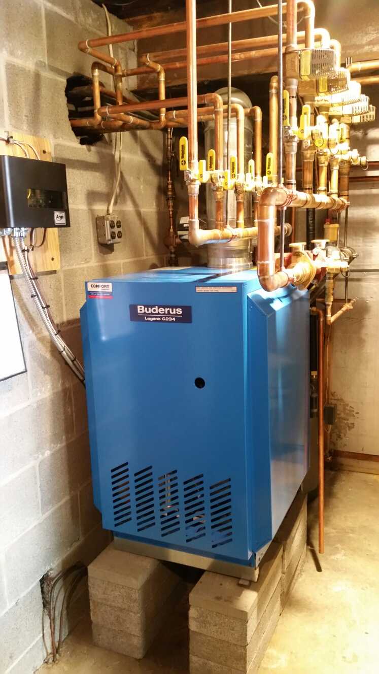 Ithaca, NY - Scheduled maintenance on Comfort Technology installed gas fired Buderus boiler. Test safeties and combustion.