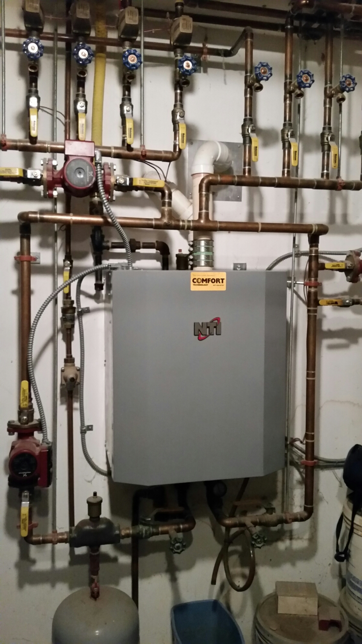 Dryden, NY - Regular maintenance on Comfort Technology installed, gas fired, modulating, high efficiency Trinity boiler.
