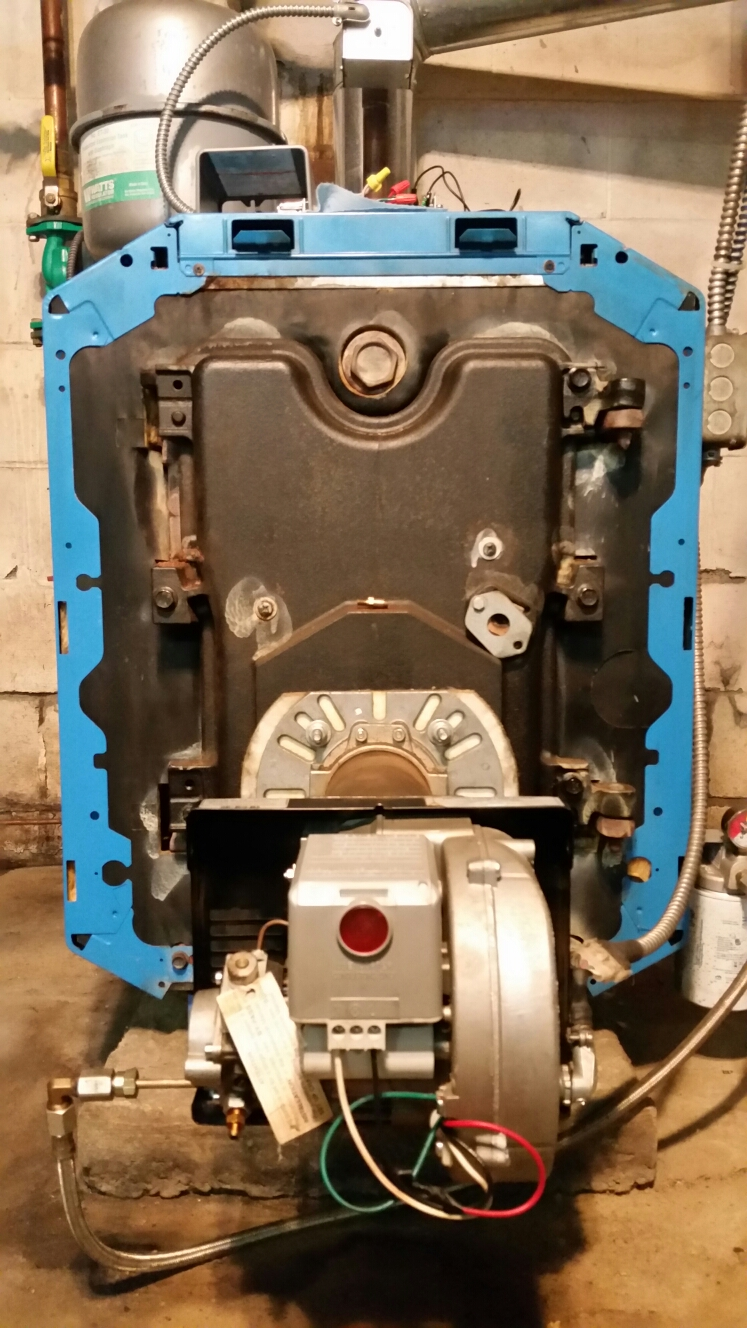 Cortland, NY - Scheduled maintenance on oil fired Buderus boiler with Riello burner. Test safeties and combustion.