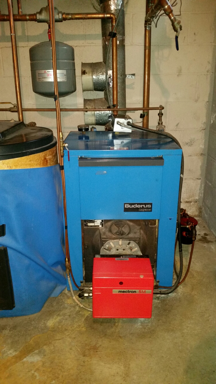 Ithaca, NY - Service older Buderus boiler with Riello Mectron burner. Test safeties and combustion.