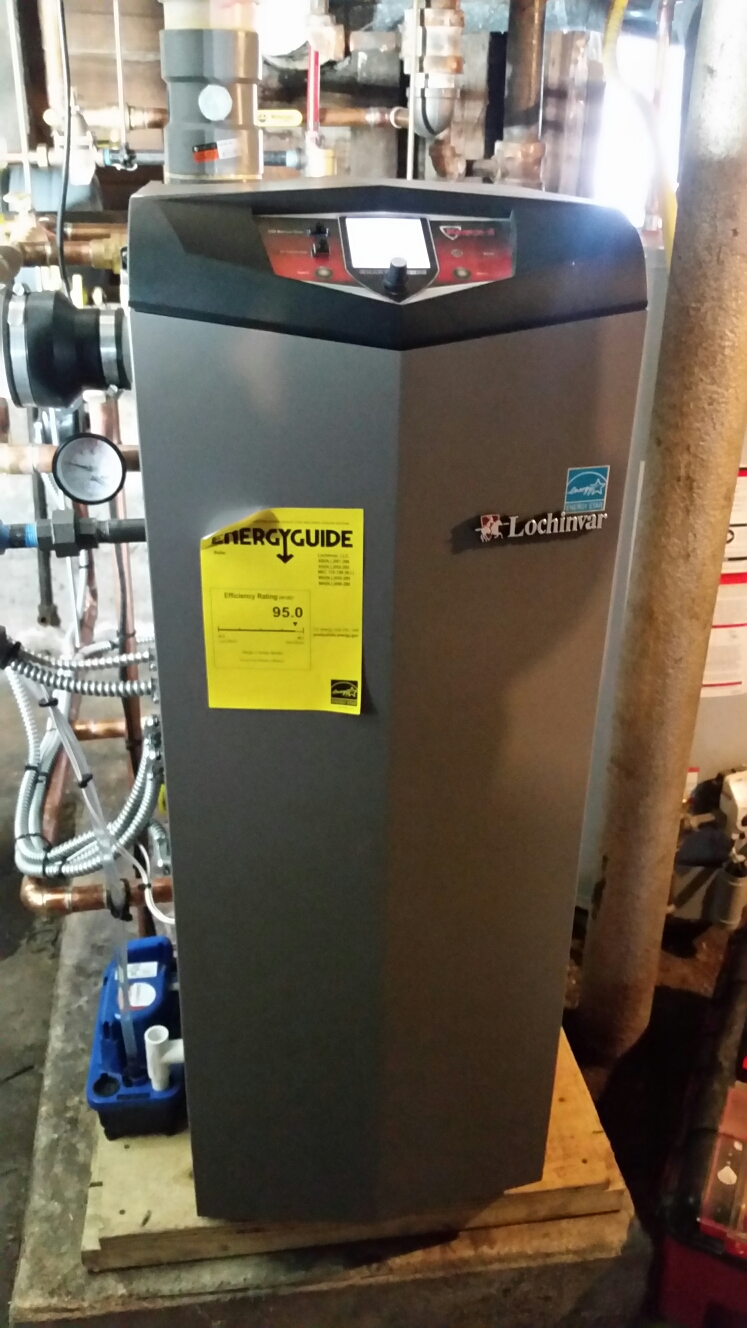 Ithaca, NY - Comfort Technology installed gas fired, high efficiency, modulating, Lochinvar boiler.