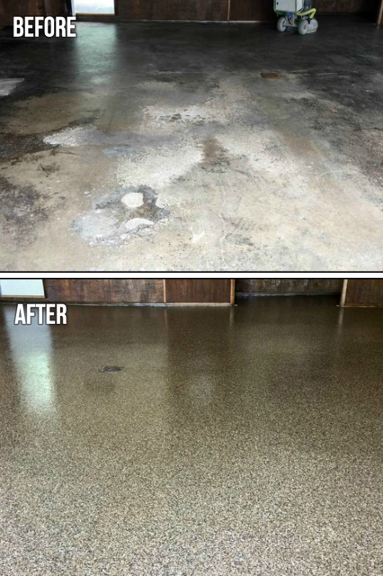 Columbus, IN - Hey! Did you know you can spruce up your concrete patio or garage floor with our epoxy floor coating? There are so many styles available including Rustic Wood and GRANIFLEX.