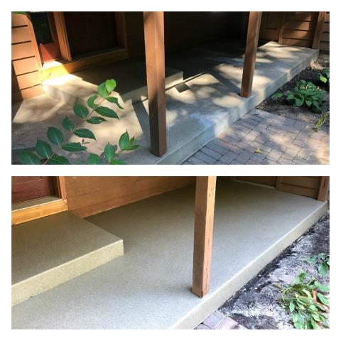 Grimes, IA - Hey! Did you know you can spruce up your pool deck, porch, or back patio with our epoxy floor coating? There are so many styles available including Rustic Wood, Metallic, Marble, and GRANIFLEX!