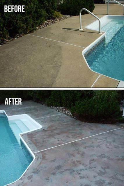 Harrington, DE - Hey! Did you know you can spruce up your pool deck, porch, or back patio with our epoxy floor coating? There are so many styles available including Rustic Wood, Metallic, Marble, and GRANIFLEX!
