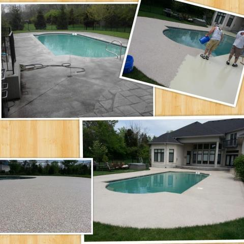 Cary, NC - Hey! Did you know you can spruce up your pool deck, porch, or back patio with our epoxy floor coating? There are so many styles available including Rustic Wood, Metallic, Marble, and GRANIFLEX!