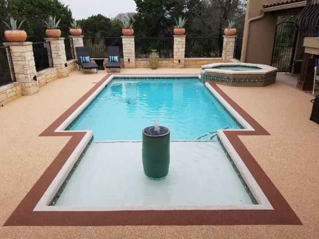 Oswego, KS - Hey! Did you know you can spruce up your pool deck, porch, or back patio with our epoxy floor coating? There are so many styles available including Rustic Wood, Metallic, Marble, and GRANIFLEX!