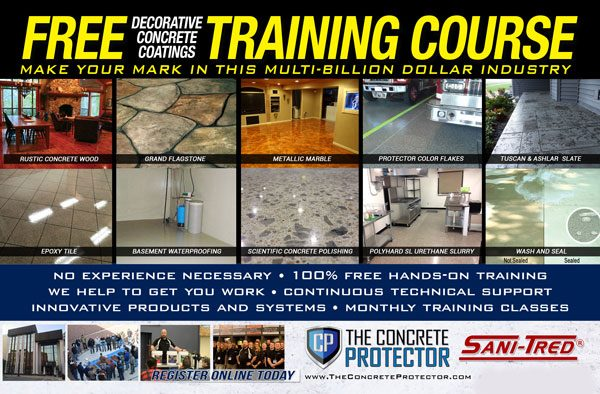 Ocala, FL - Who doesn't like FREE?! We not only train you for FREE on decorative concrete coatings, but we also offer exclusive DEALS to help you get into the billion-dollar industry of epoxy flooring that you can only take advantage of at training!