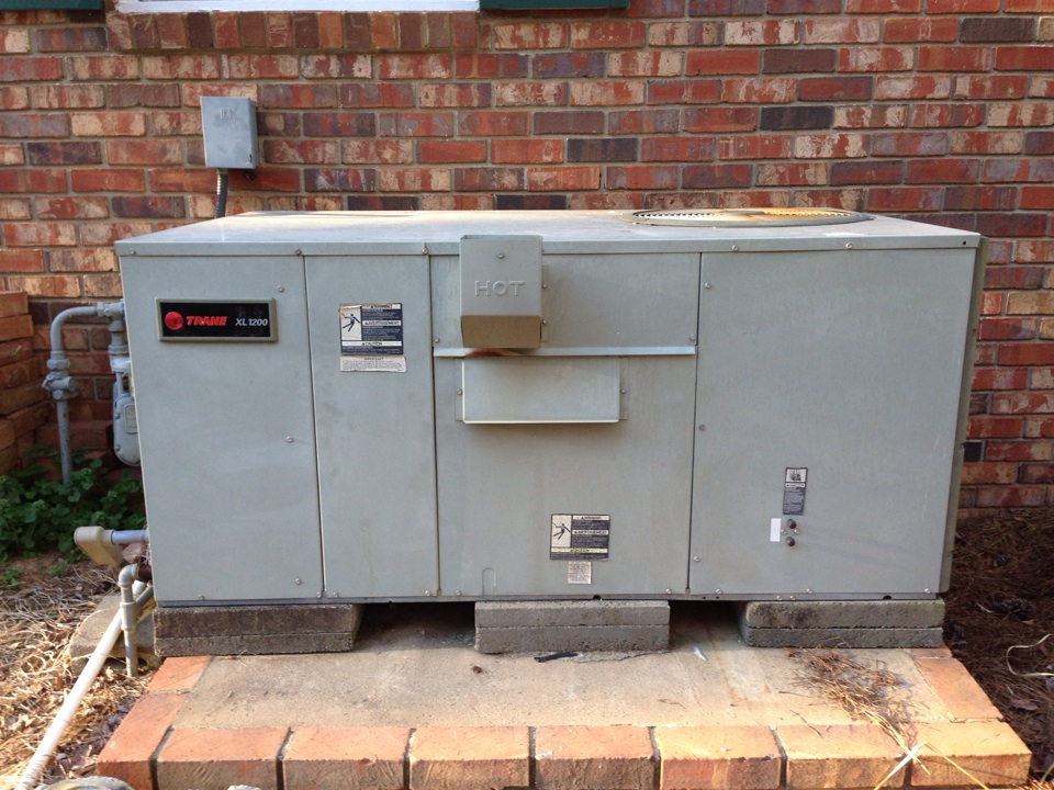 Elberton, GA - Repair of failed safety system on Trane XL1200 Packaged unit, Model YCX036, If your heating system looks like this be sure to have Professional Safety and Efficiency test performed annually