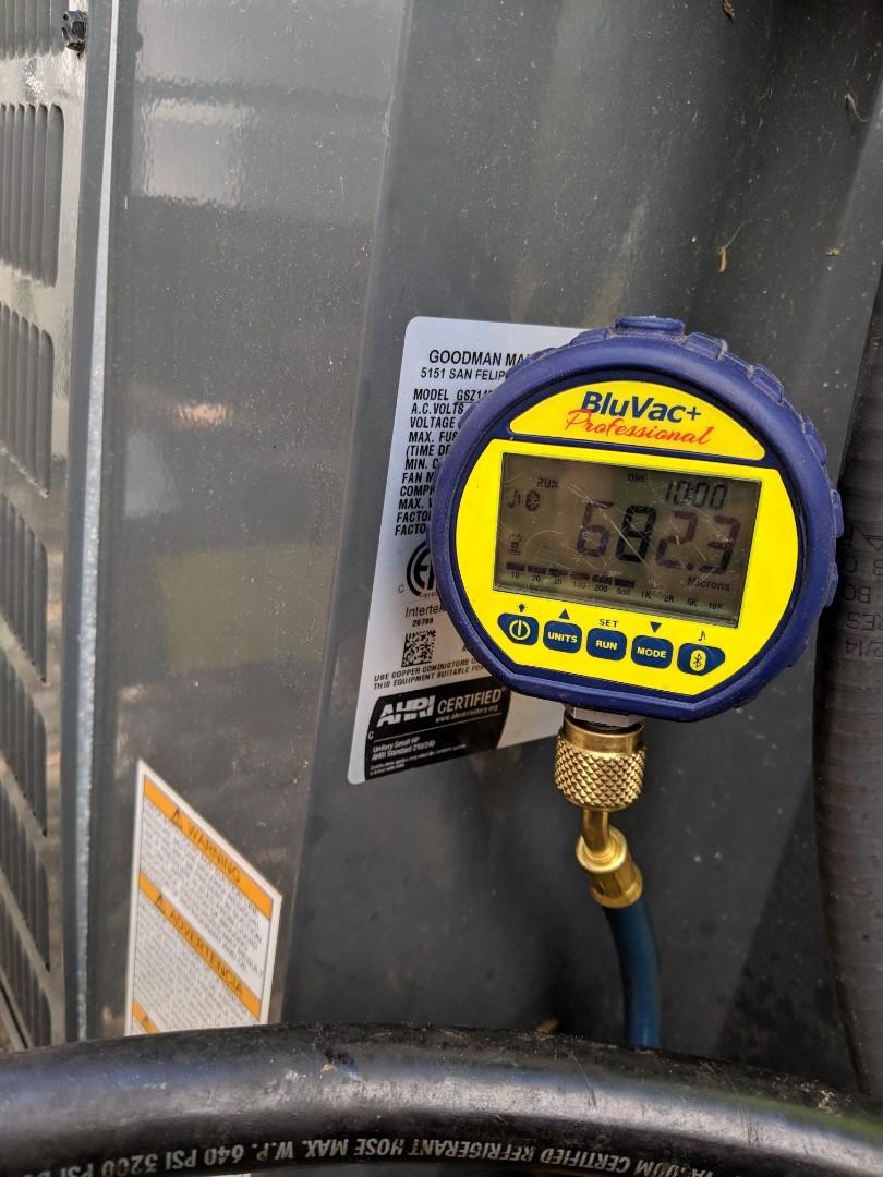 Raleigh, NC - Fixing a refrigerant leak on a Goodman heat pump.