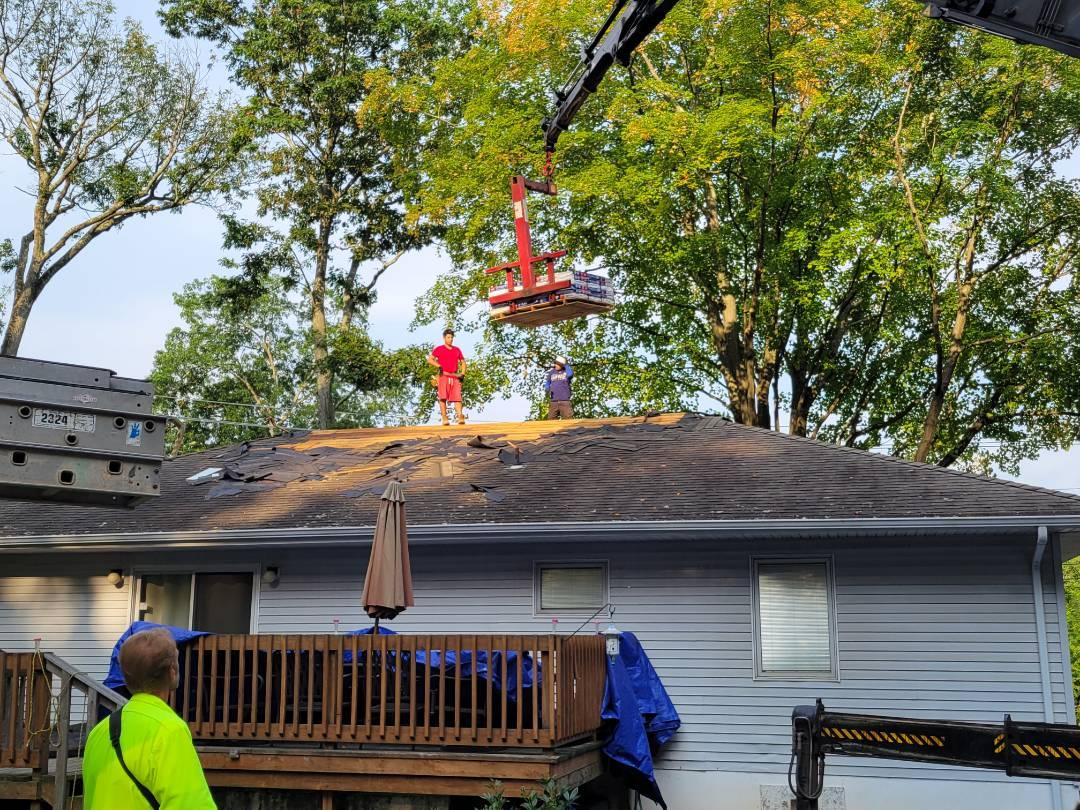 Roxbury Township, NJ - Load materials on roof