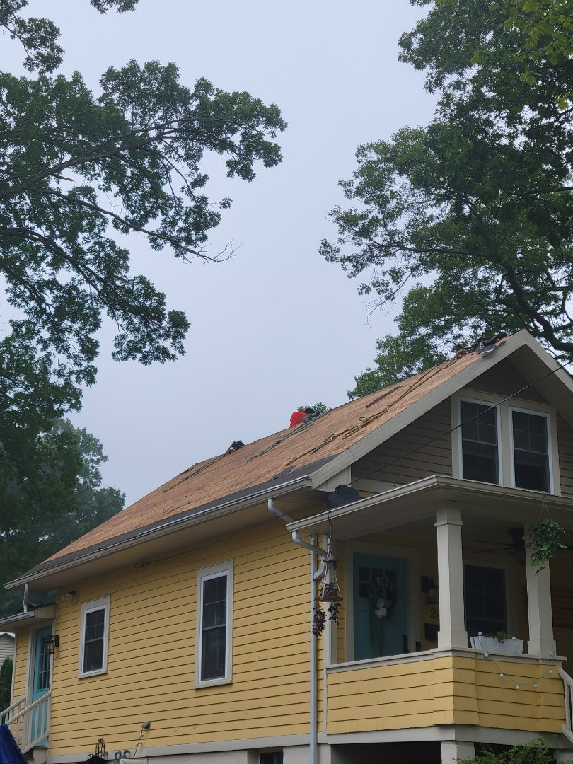 Wharton, NJ - Removing old roof on this home so we can install a new GAF Timberline HDZ Roof in Shakewood
