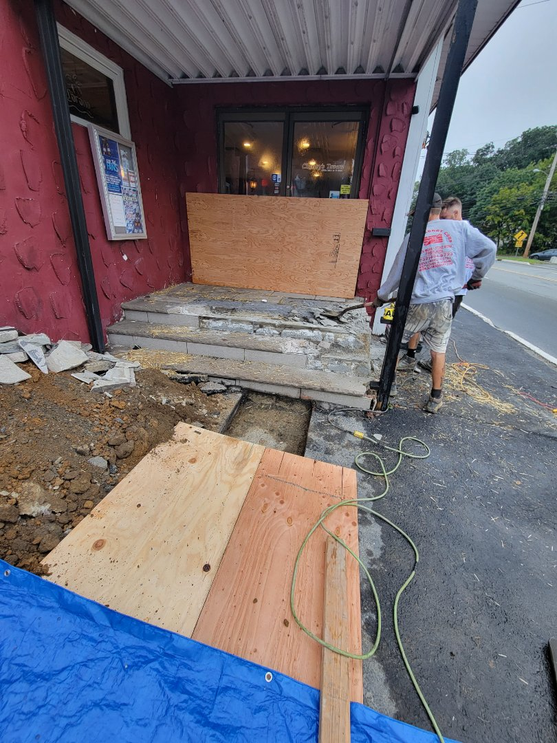 Jefferson, NJ - Demolition of front steps in preparation for new to be constructed