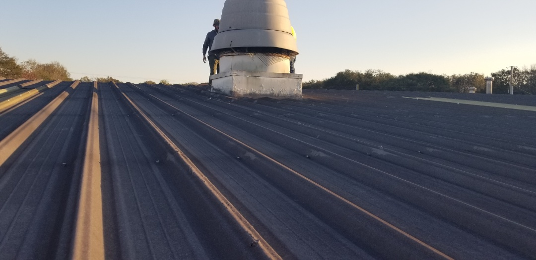 Commercial metal roof repair leaking around a vent will use Tpo and many years of my experience to repair this leak that many have tried and fail Zac screws,oversized, rake edge metal,skylight panels,metal wall panel,ridge panels,