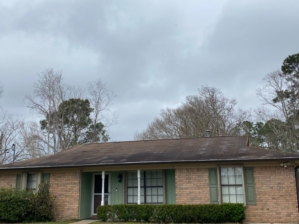 Pensacola, FL - Hurricane Sally hit this roof hard! Freeman Roofing is roofing this home with Architectural shingles. New roof coming soon!