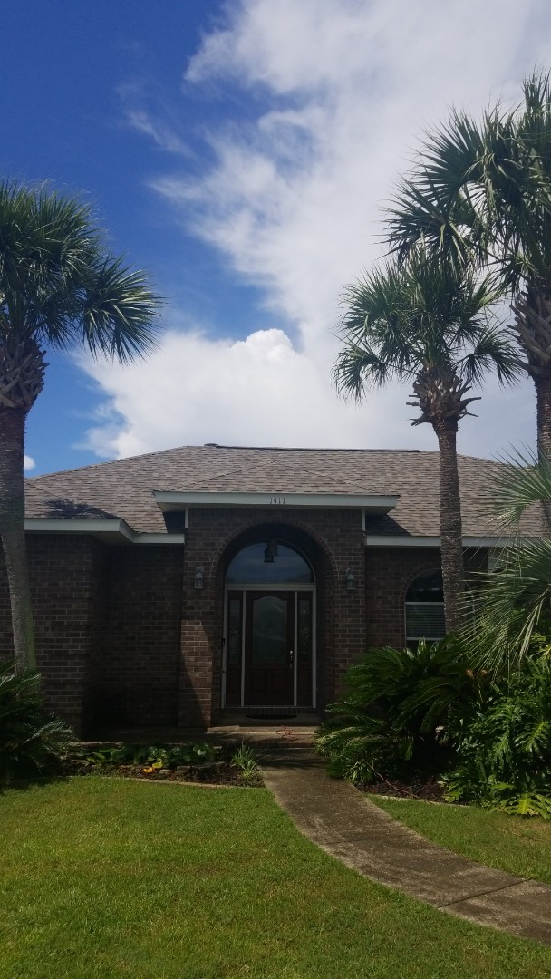 Gulf Breeze, FL - Remove existing shingles  Renail decking  Inspect decking for bad wood Replaced bad wood with new Install ice and water shield underlayment  Install new pipe boots  Install starter shingle set into roof cement to the new eave metal aka drip edge I install new pristine atlas shingles which we are a Diamond installer with atlas best shingles made  Install low profile lomanco ridge vent  Install atlas pre cut hip and ridge shingles  We was only to reroof house we reroof shed