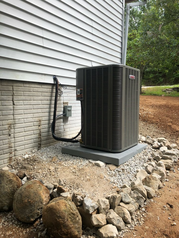 Installing a new Lennox heat pump system. Replacing old system that was hit from machinery, and needing replaced. Replacing lineset. Brazing in new equipment. Pressure testing system. Evacuating system of all moisture and oxygen. Charging system to manufacturer recommendations. Re-doing a dryer vent run. And removing old equipment from the property.