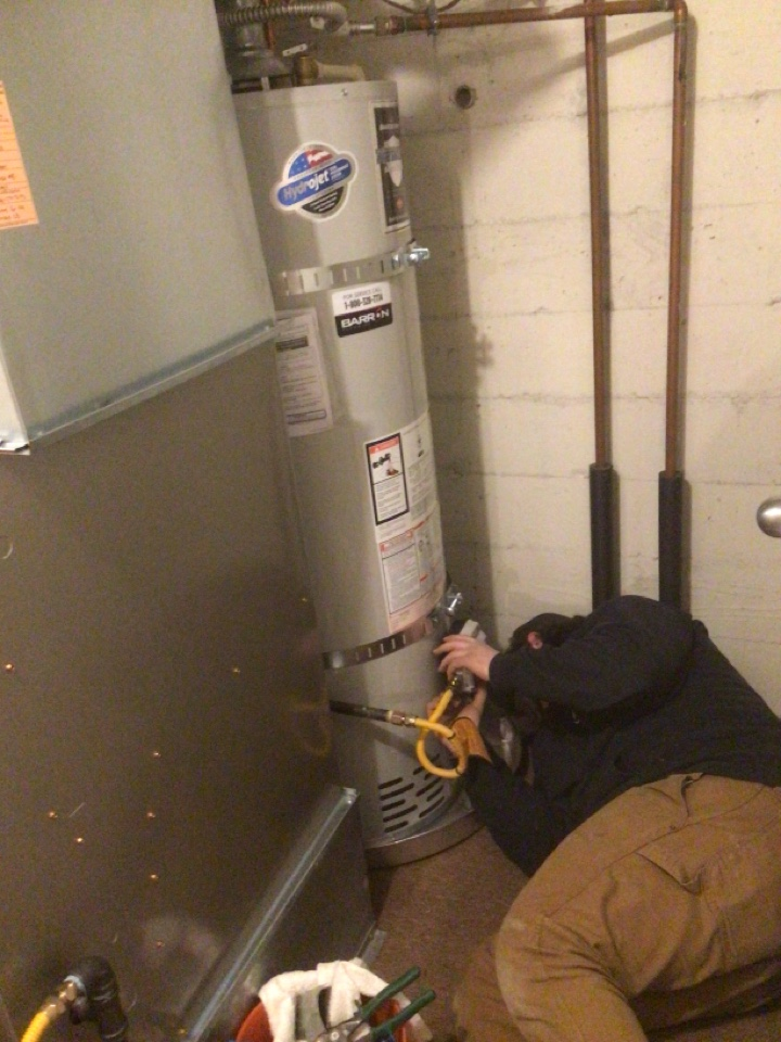 Installed 40 gallon natural gas hot water tank in Anacortes, WA.