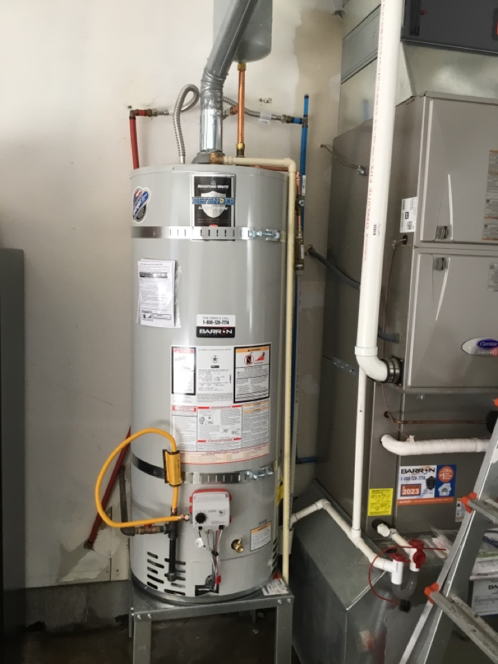 Point Roberts, WA - Replaced 50 gal LP water heater up to code in Point Roberts, WA.
