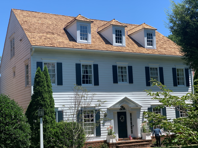 Vienna, VA - Look at this beautiful cedar shake roofing replaced by Nations Choice Windows Siding Roofing in Vienna, VA!
