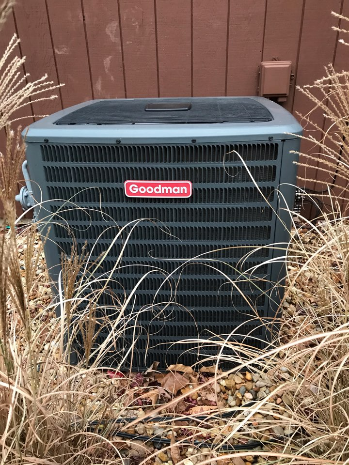 Fall maintenance on Goodman electric heat pump and ADP unit