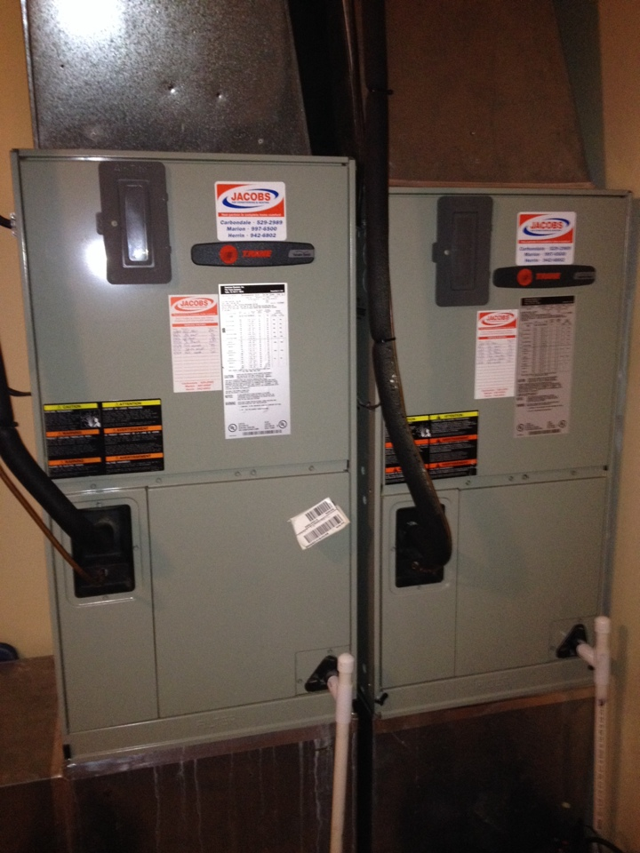 Herrin, IL - Fall tune up. Two Trane heat pump units maintained and ready for winter.