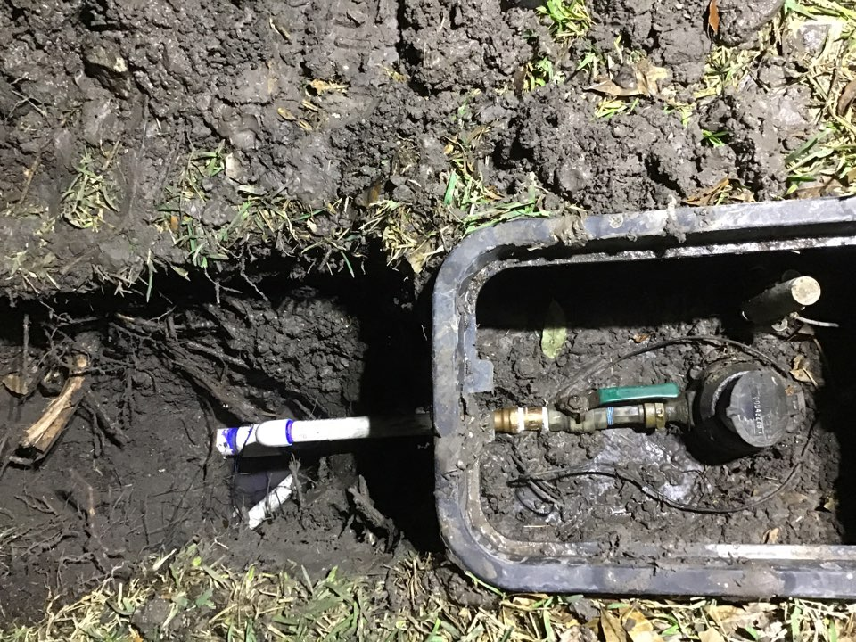 Water line repair at the meter