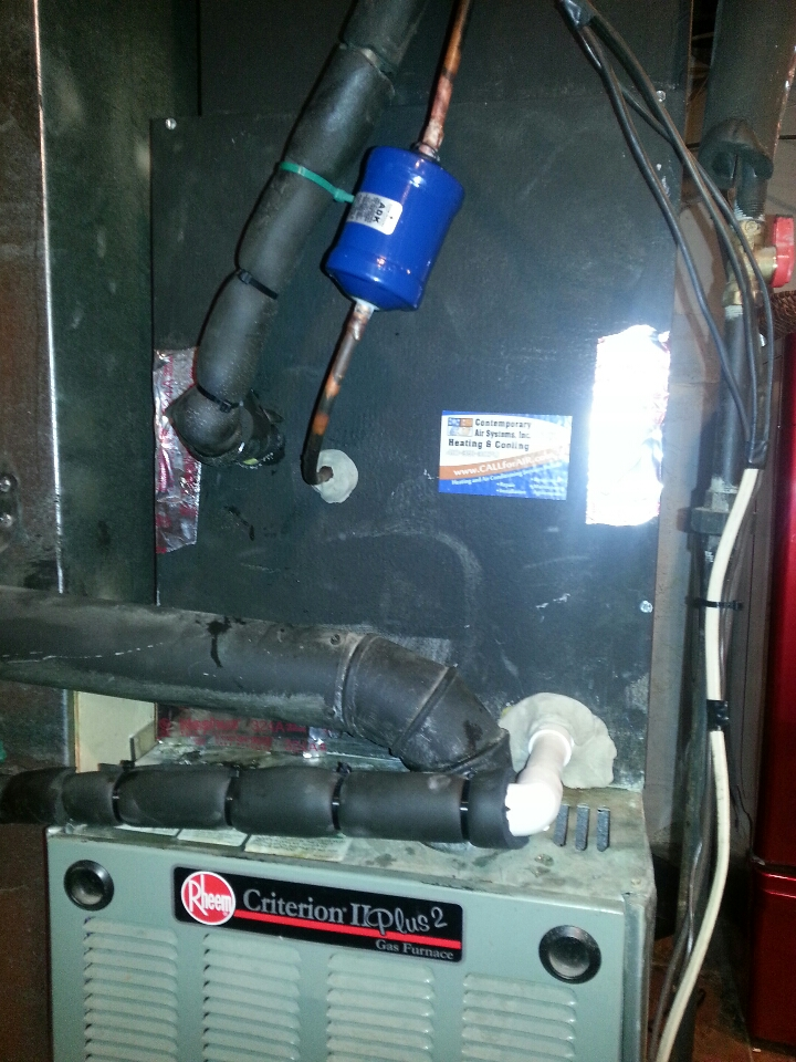 Baltimore, MD - Installation of new evaporator coil on existing Rheem gas furnace.