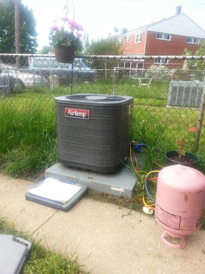 Essex, MD - Airtemp air conditioner repair. Added refrigerant to system.